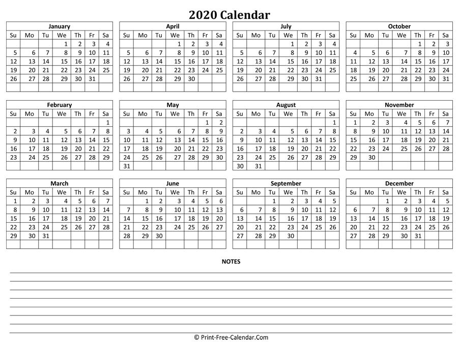 Print Free Calendar 2020